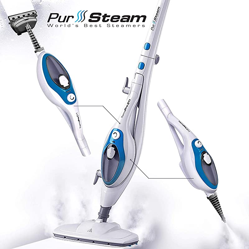 Steam Mop Cleaner ThermaPro 10 In 1 With Convenient Detachable Handheld Unit Laminate Hardwood Tiles Carpet Kitchen Garment Clothes Pet Friendly Steamer Whole House Multipurpose Use By PurSteam