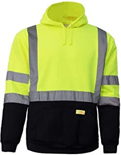 New York Hi-Viz Workwear H8312 Men's ANSI Class 3 High Visibility Class 3 Sweatshirt, Hooded Pullover, Knit Lining, Black Bottom (Lime, XXX-Large)