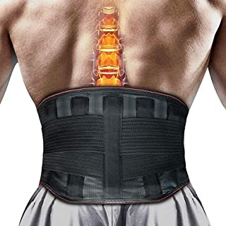 Lower Back Brace Lumbar Posture Corrector - Support Belt with Removable Aluminum Plate Breathable and Stretchable Waist Compression Wrap for Relief Waist Pains, Spasm, Sprain, Herniated Disc