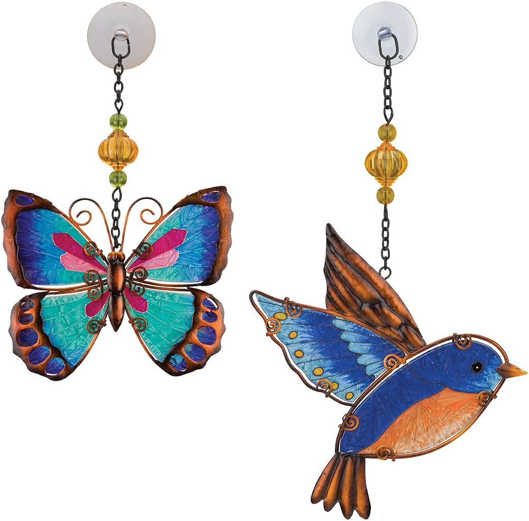 Regal Art Gift Ranking TOP15 Suncatchers Green Free shipping anywhere in the nation Bird Blue Butterfly Glass