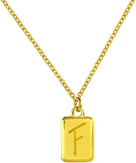 Jewanfix Initial Square Necklace 14k Gold Plated Letters A to Z Alphabet Pendant Necklace for Men Women Valentine's Day Gift