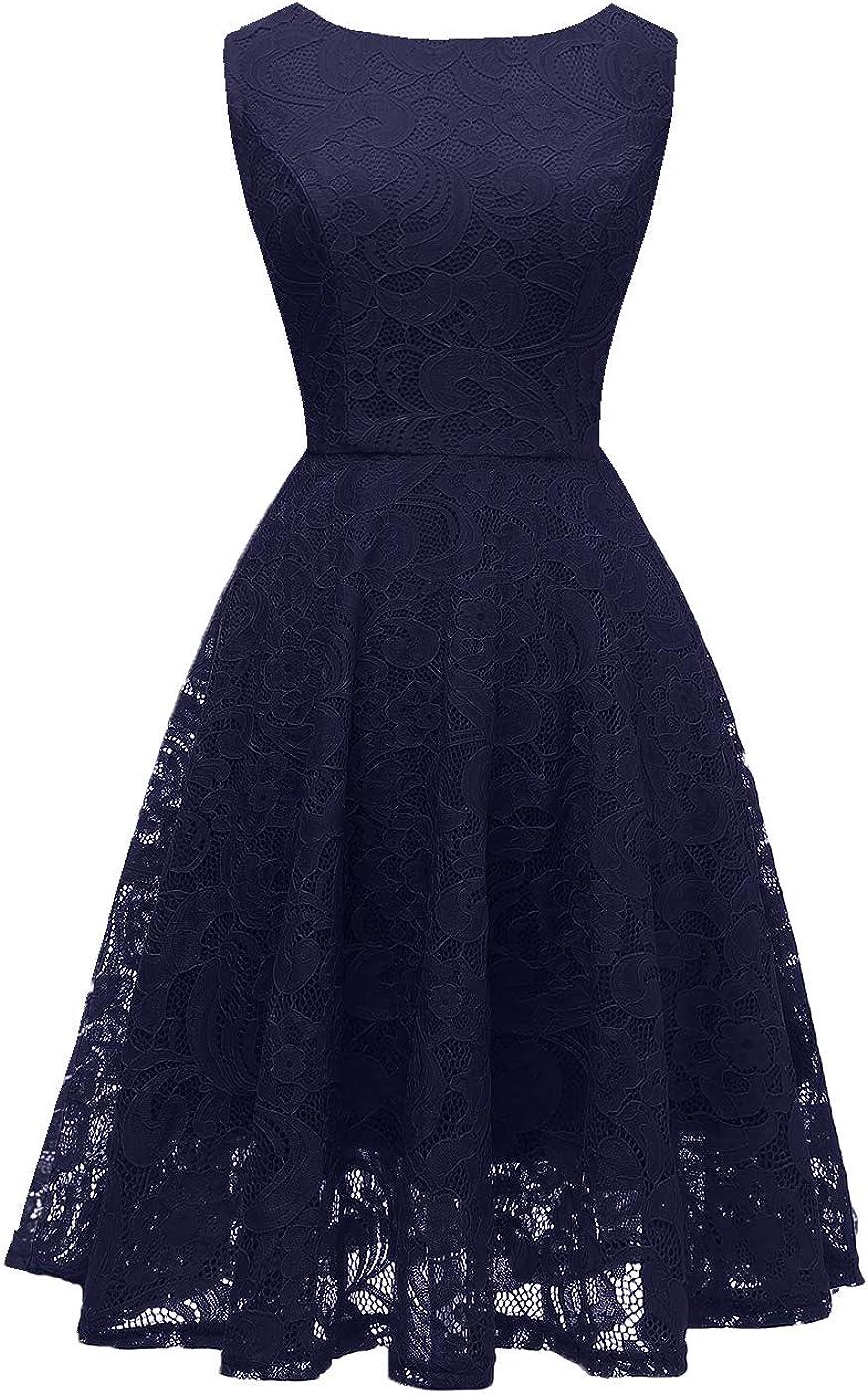 OBBUE Women's Boatneck Lace Cocktail Party Dress Floral Short Prom Dress