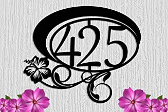 DKISEE Hibiscus bloem aangepaste metalen adresteken grote huisnummers - aangepaste stalen adresteken - lettertype