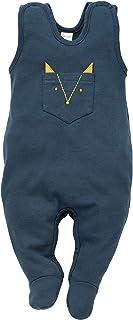 Pinokio Secret Forest - Baby Jungen Overalls Strampler Unisex 100% Baumwolle Schlafanzug Gelb Marineblau Babyspielanzug ärmellos 56 62 68 74 cm