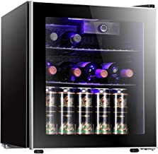 Antarctic Star 18 Bottle Wine Cooler/Cabinet Beverage Refrigerator Small Red & White Wine Cellar Adjust Temperature Beer Counter Top Bar Fridge Quiet Operation Compressor Freestanding Black