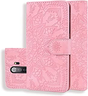 Good For Xiaomi Redmi Note 8 Pro Calf Pattern Mandala Double Folding Design Embossed Leather Case with Wallet & Holder & Card Slots(Black) FatW (Color : Pink)