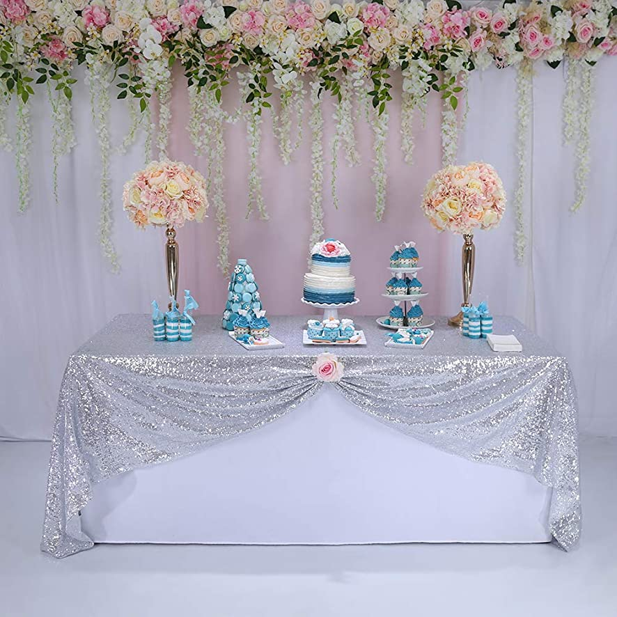 BalsaCircle 60x102-Inch Silver Rectangle Tablecloth for Wedding Party Cake Dessert Events Table Linens,