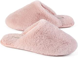 Snug Leaves Ladies' Fluffy Memory Foam Slip On Slippers with Cozy Faux Fur Lined House Shoes