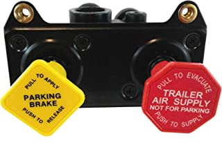 """MV-3 Hand Operated Push/Pull Tractor-Trailer Dash Control Brake Valve - 3/8"""" Ports for Heavy Duty Big Rigs"""