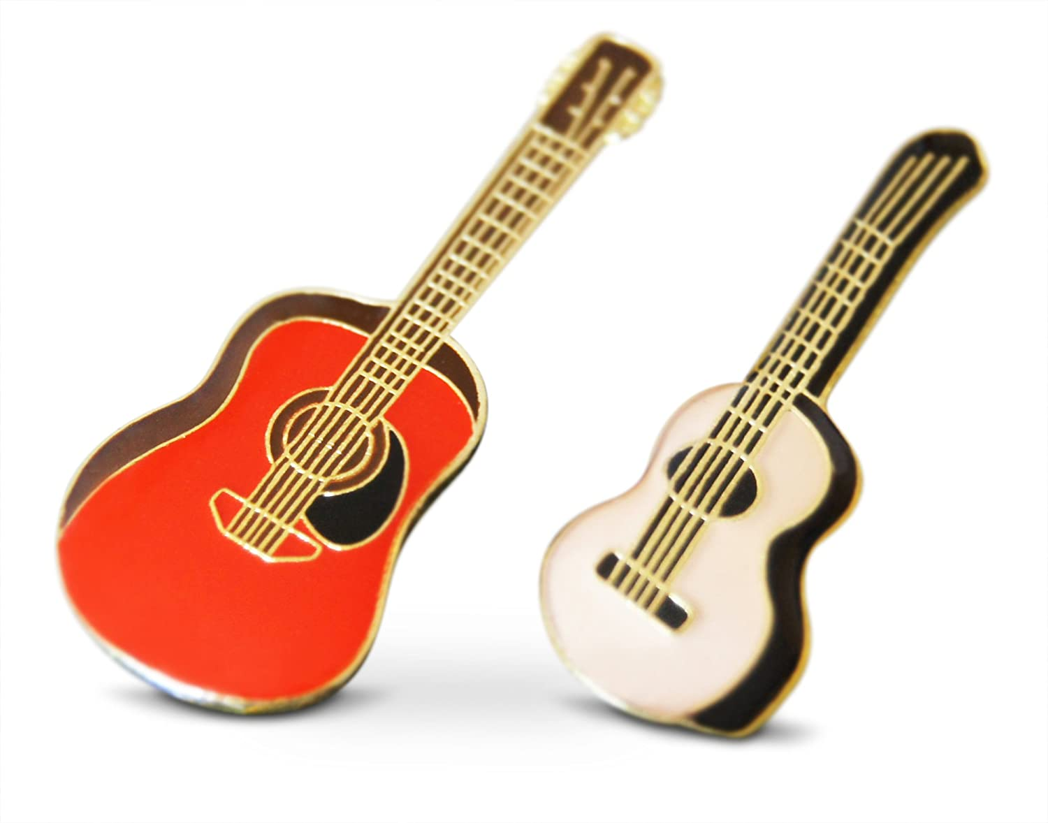 Novel Merk 2-Piece Acoustic Strong Guitar Musician Lapel or Hat Pin & Tie Tack Set with Clutch Back