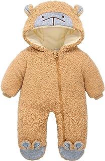 الوليد الشتاء زائد المخملية الدافئة الصوف رومبير الملابس طفل الفتيات الصبي بذلة الزي snowsuit معطف (Color : Beige, Size : 3M)