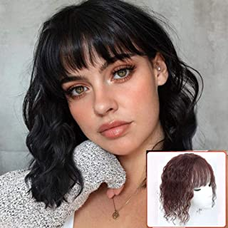 Sponsored Ad - Curly Human Hair Topper with Bangs 5.1