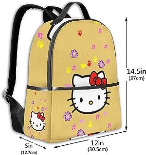 Classic School Backpack Hello Kitty Unisex College Schoolbag Travel Bookbag Black