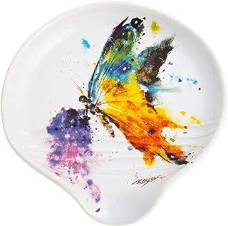 DEMDACO Dean Crouser Kaleidoscope Butterfly Watercolor Rainbow 5 x 5 Glossy Stoneware Spoon Rest