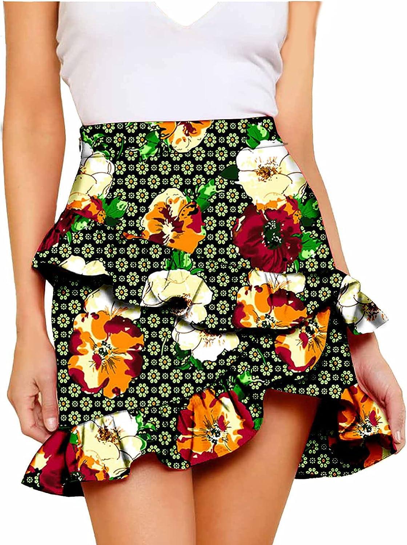 Casual high Waist Skirt Fashion Irregular Ruffle Skirt Traditional African Women's Printed Fabric Skirt Custom Size