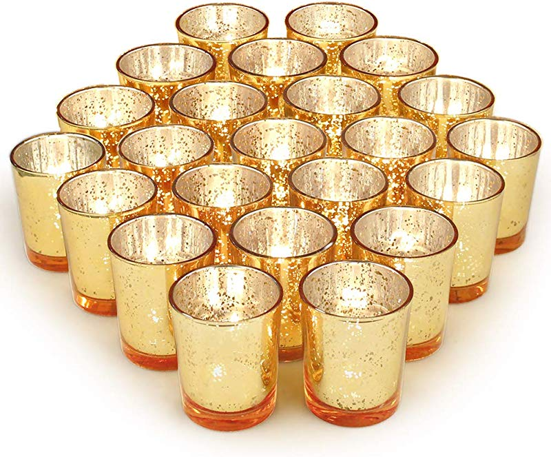 Volens Gold Votive Candle Holders Bulk Mercury Glass Tealight Candle Holder Set Of 72 For Wedding Decor And Home Decor