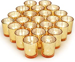 Volens Gold Votive Candle Holders Set of 72, Mercury Glass Tealight Candle Holder Bulk for Wedding Decor and Home Decor