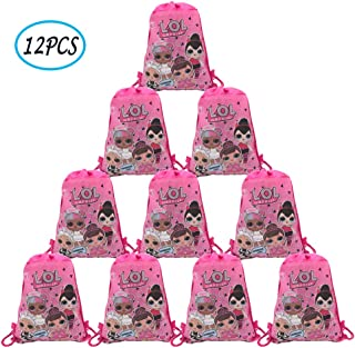 12 Packs LOL Drawstring Party Bag, Party Favors Bags Drawstring Backpacks Gifts Bags Birthday Party Supplies Favor Bag for kids Children Girls Baby Shower