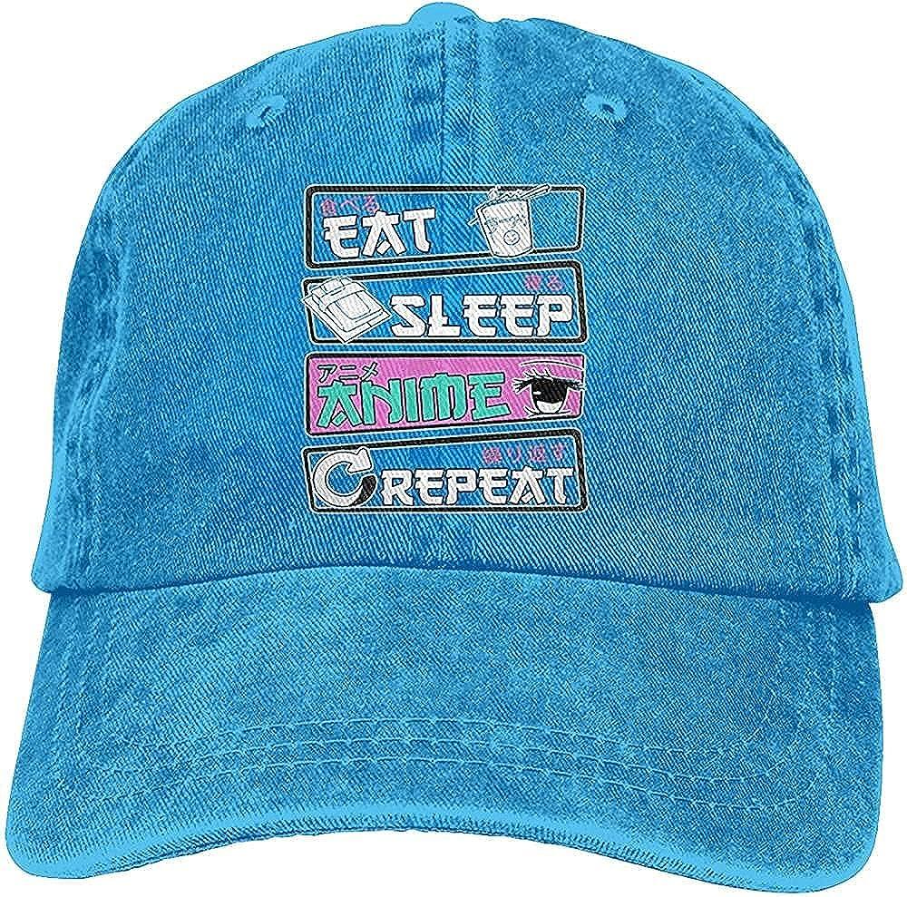 BGWORZD Fashion Eat Sleep Anime Repeat Hat Unisex Baseball Cap Adjustable Comfortable Cowboy Hat Black
