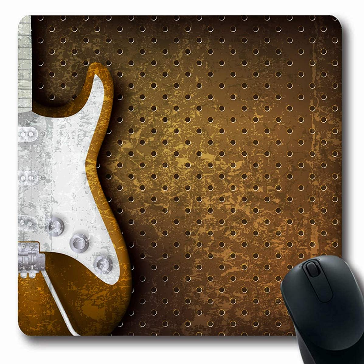 Ahawoso Mousepad Oblong 7.9x9.8 Inches Musical Rock Abstract Brown Electric Guitar Music Grunge Classic Ivory Retro Jazz Culture Design Art Mouse Pad Non-Slip Rubber for Notebook Laptop PC Computer