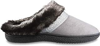 حذاء حريمي من Isotoner مصنوع من الإسفنج الذي يتشكل حسب الجسم الملامس مصنوع من الفرو الصناعي مع نعل داخلي مريح