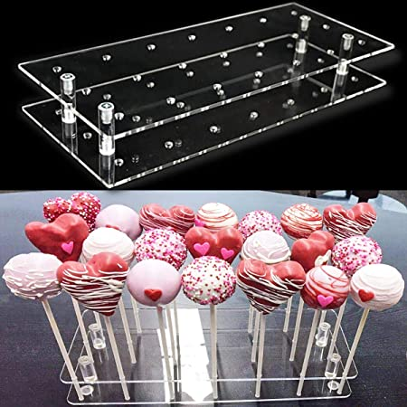 Goabroa Cake Pop Display Stand, 21 Hole Clear Acrylic Lollipop Holder Baby Showers Birthday Parties Anniversaries Halloween Candy Decorative