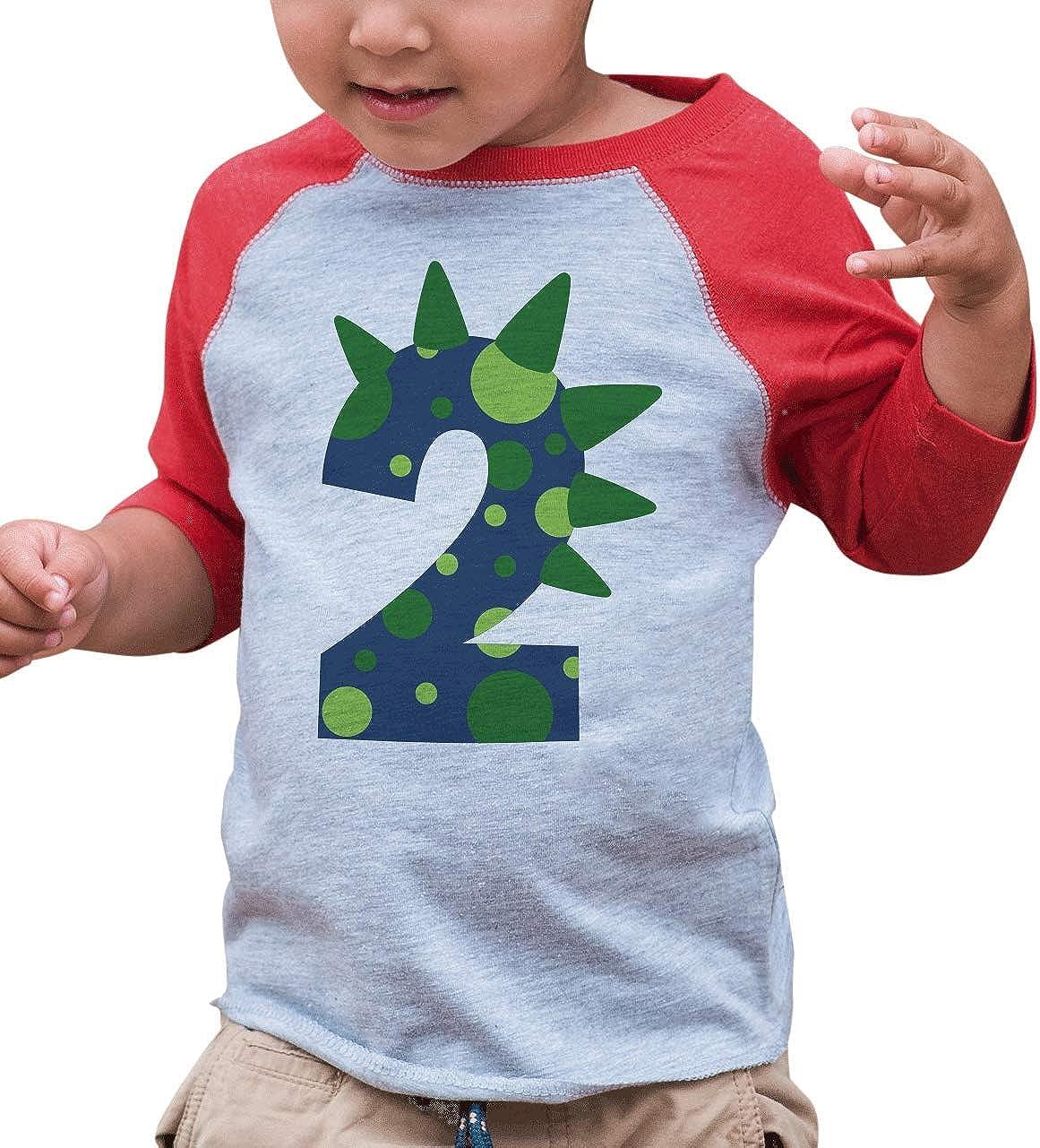 2nd Birthday Shirt for Boys Dinosaur Spikes 2 Year Old Boy Birthday Boy Dino Two T-Shirt Raglan Tee