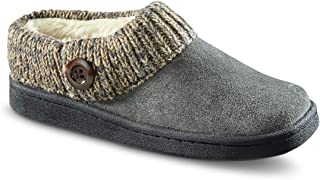 Women's Suede Clog Slippers with Sweater Button Collar