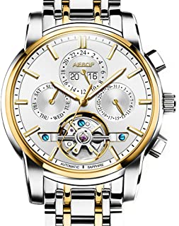 Aesop Fashion Business Skeleton Men Day Date Analog Automatic Self Winding Mechanical Wrist Watch with Steel Band Luminous Silver Gold White