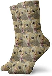 Verctor Gato tosiendo como un niño Calcetines con diseño de Meme Calcetines Deportivos Cortos de Ocio 30cm