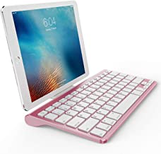 OMOTON Ultra-Slim Bluetooth Keyboard with Sliding Stand,Compatible with 2018 iPad Pro 11/12.9, iPad 10.5/10.2, New iPad 9.7 Inch, iPad Air, iPad Mini, iPhone and Other Bluetooth Device, Rose Gold