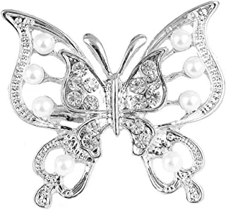 31d24f59ea5 Reizteko Women Girls Double Hollow Butterfly Brooch Pins Alloy with Rhinestone  Crystal Pearl Brooches Wedding Pin