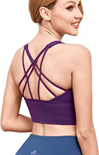 AS ROSE RICH Sports Bra - Workout Tops for Women - Strappy Padded Yoga Bra with Removable Cups