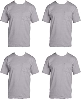 Fruit of the Loom Men's 4-Pack Pocket Crew Neck T-Shirt Athletic Heather X-Large