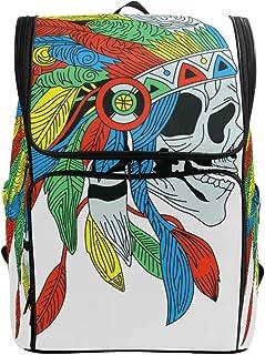 FANTAZIO mochila india antigua con plumas coloridas para portátil, mochila para viajes, senderismo, camping, mochila casual, grande para la escuela