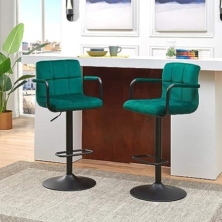 Duhome Elegant Lifestyle 2Pcs Bar Stools with Back Modern Tech Fabric Adjustable Hydraulic Swivel Barstools Square Counter Height Stool Dark Grey