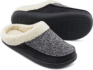 Women's & Men's Comfort Memory Foam Slippers Fuzzy Wool Plush Slip-on Clog House Shoes w/Indoor & Outdoor Sole