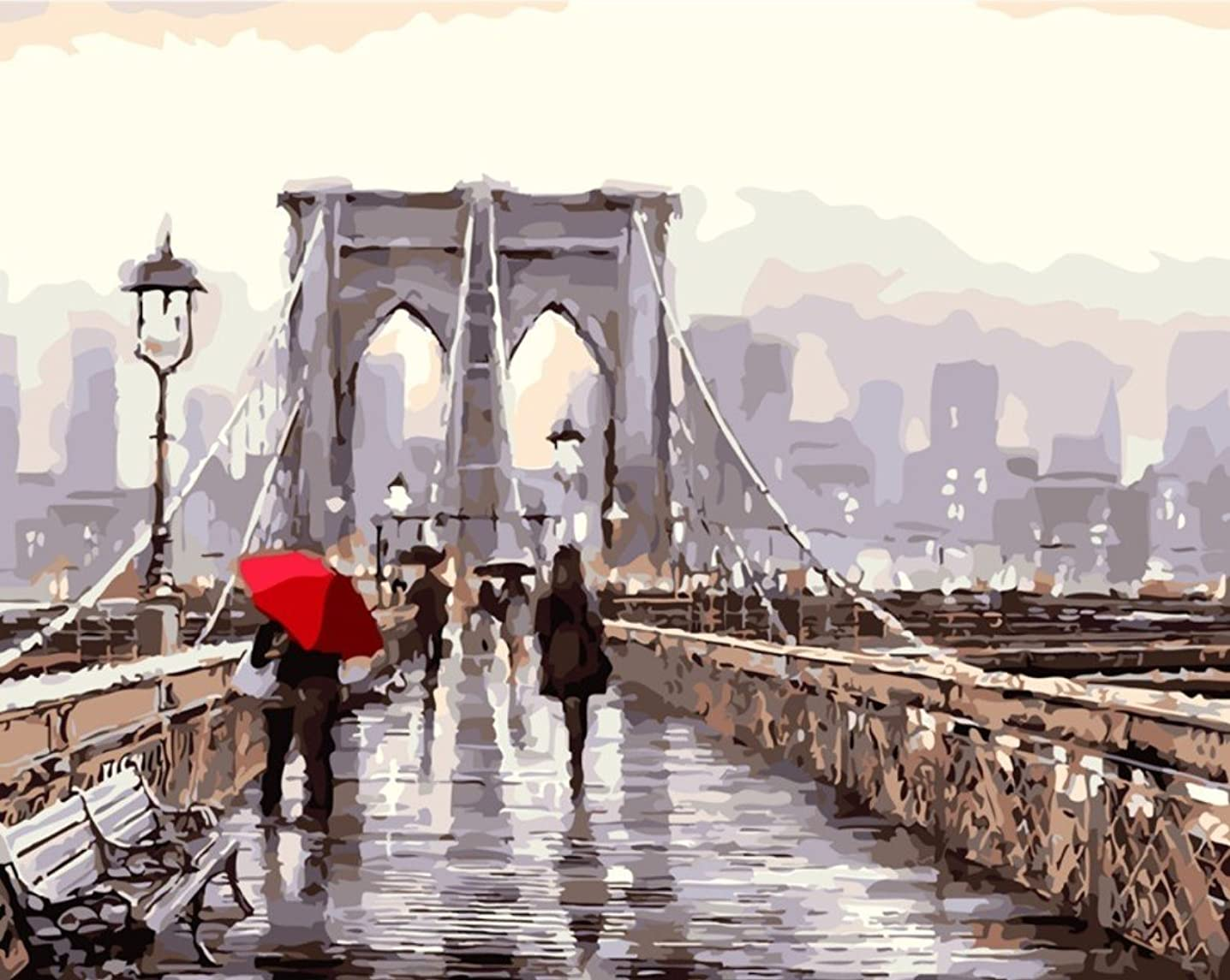 YEESAM Art New DIY Paint by Number Kits for Adults Kids Beginner - Romantic Street, Brooklyn Bridge View 16x20 inch Linen Canvas - Stress Less Number Painting Gifts (with Frame)