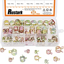 Rustark 55Pcs Spring Band Type Action Fuel Line Silicone Vacuum Hose Pipe Clamp Low Pressure Air Clip Clamps Fasteners Assortment Kit (5 x 7mm 8mm 9mm 10mm 11mm 12mm 13mm 14mm 15mm 16mm 17mm)