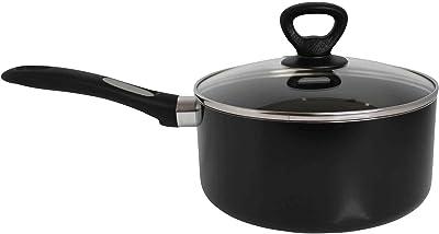 Mirro A79723 Get A Grip Aluminum Nonstick Sauce Pan with Glass Lid Cover Cookware, 2-Quart, Black