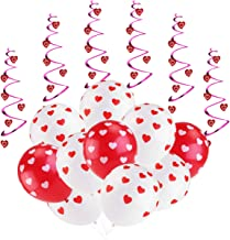 Latex Balloons for Party Red & White Heart Balloons Anniversary Decorations Valentines Birthday Girl Baby Shower 20pcs Latex Balloons 6pcs Hanging Hearts 36pcs Heart Shape Decorations