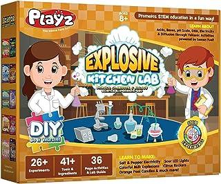 Playz Explosive Kitchen Lab 26+ Physics, Chemistry & Biology Science Experiments Set - Make Salt & Pepper Electricity, Sou...
