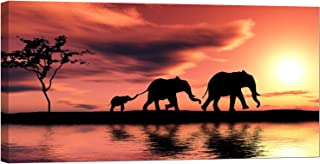 LightFairy Glow in The Dark Canvas Painting - Stretched and Framed Giclee Wall Art Print - Family of Elephants - Master Bedroom Living Room Decor - 6 Hours Glow - 32 x 16 inch