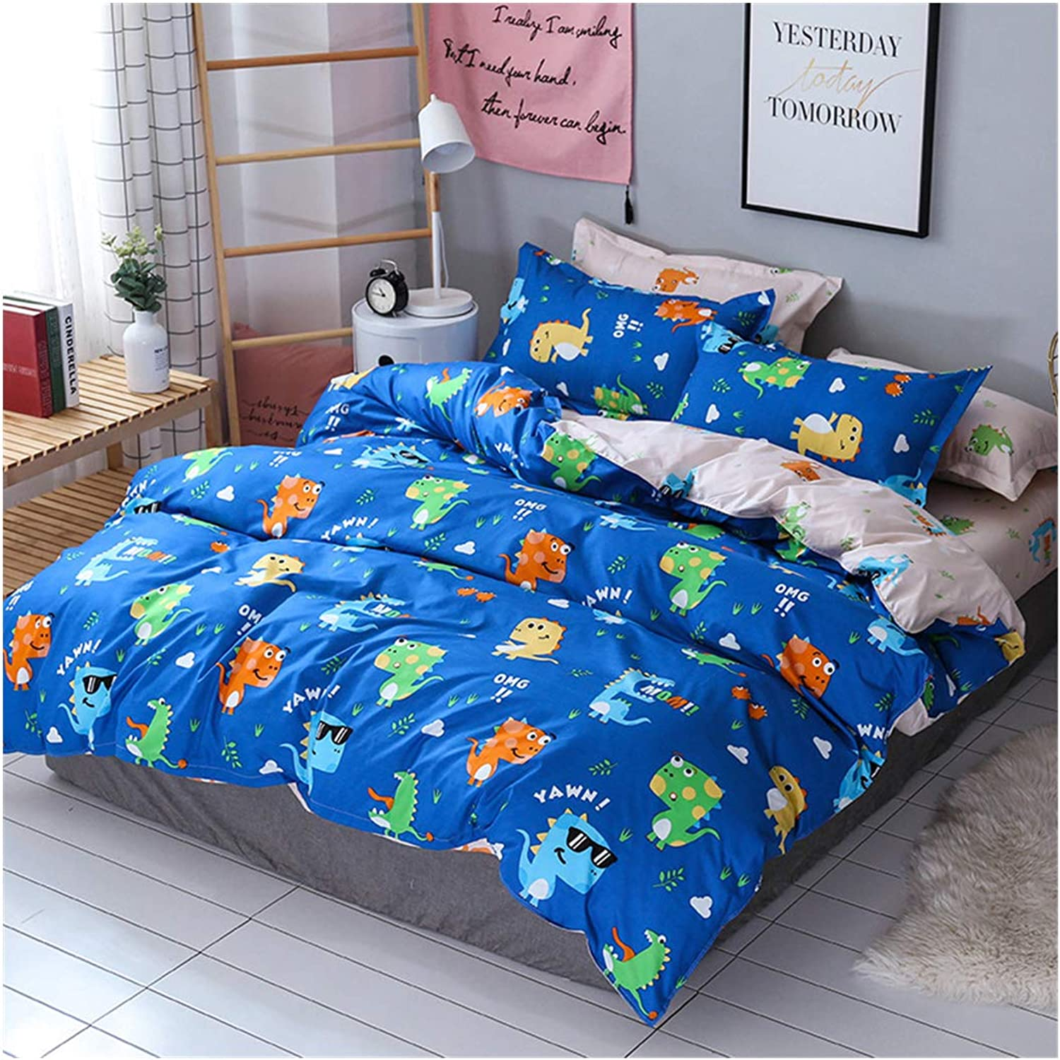 Homebed Cartoon Dinosaur Print Duvet Cover Sets for Kids Home Texitile Bedding Sets with 1 Comforter Cover 2 Pillow Shams, 3 Pieces Boys Girls Bed Set, bluee, Queen