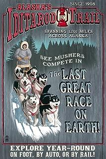 Alaska - Iditarod Trail Vintage Sign (9x12 Art Print, Wall Decor Travel Poster)