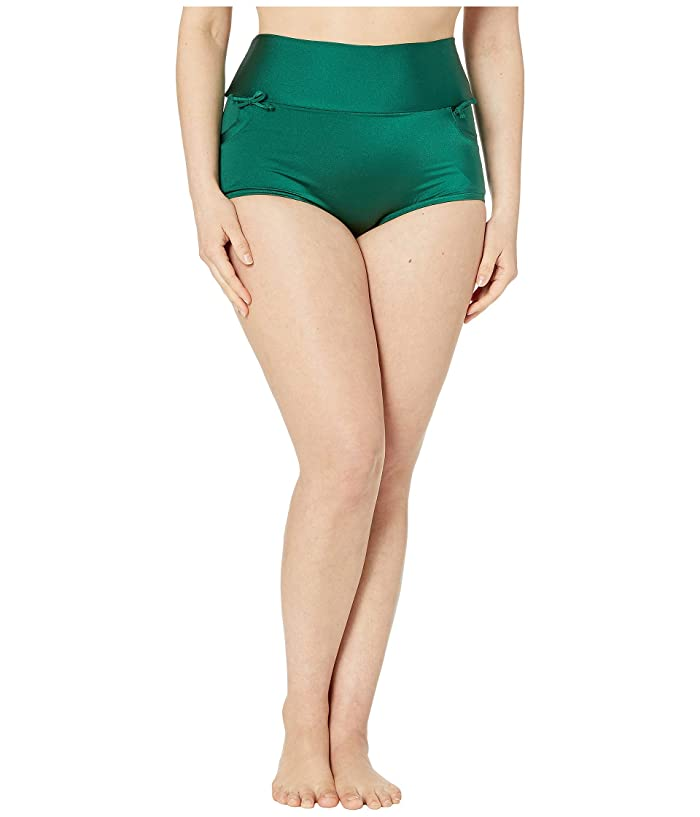 Unique Vintage Plus Size Gilda High-Waist Swim Bottoms (Forest Green) Women
