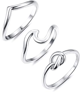 2-3PCS 925 Sterling Silver Engagement Wave Rings for Women Girls Wedding Love Knot Ring Set Beach Ocean Ring, Size 6-9#