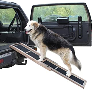MOCUER Dog Ramps for Car or High Bed, Pet Safe Foldable Non-Slip Pet Ramp or Carrying Case, Adjustable Step Flat Pet Ramp 65 in.