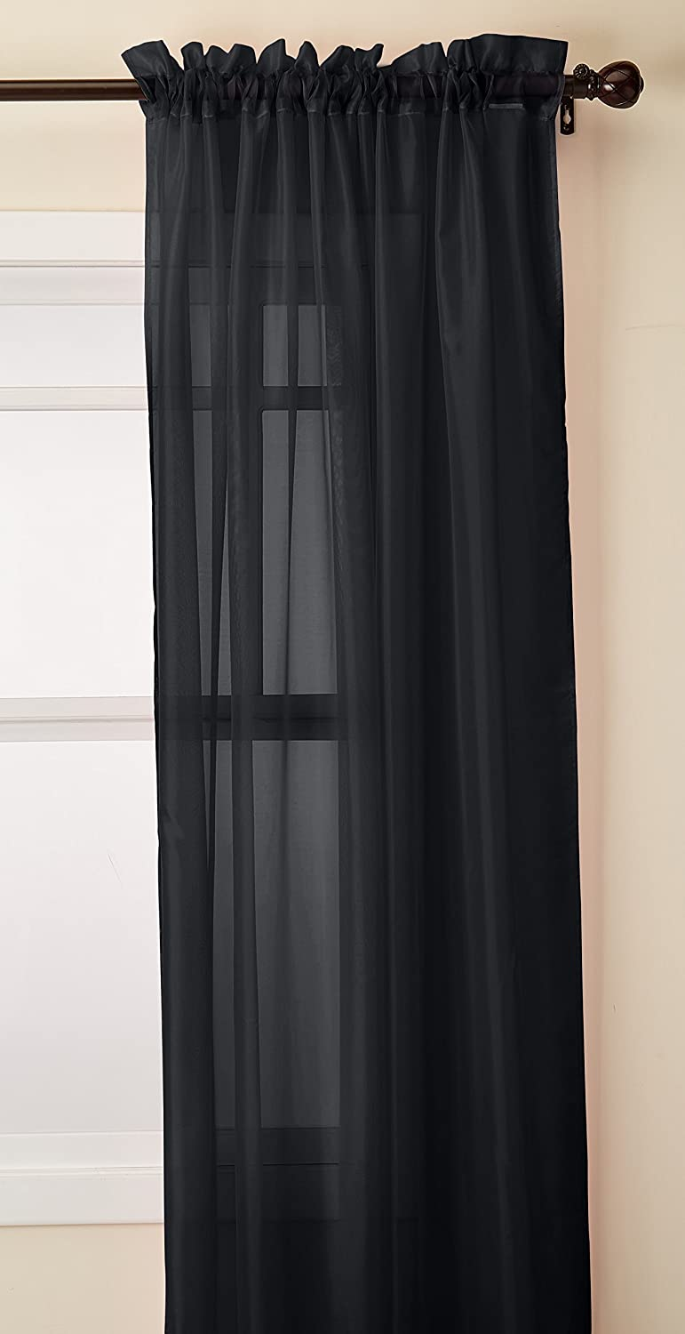 Elegant Comfort 2-Piece Sheer Panel with 2  Rod Pocket, Window Curtains 60  Width X 84  Length, Black