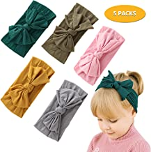CODOHI 5 Packs Baby Nylon Bow Headband Super Soft Elastic Knotted Assorted Colors Headbands for Newnorn Baby Toddler Girls Head Wraps